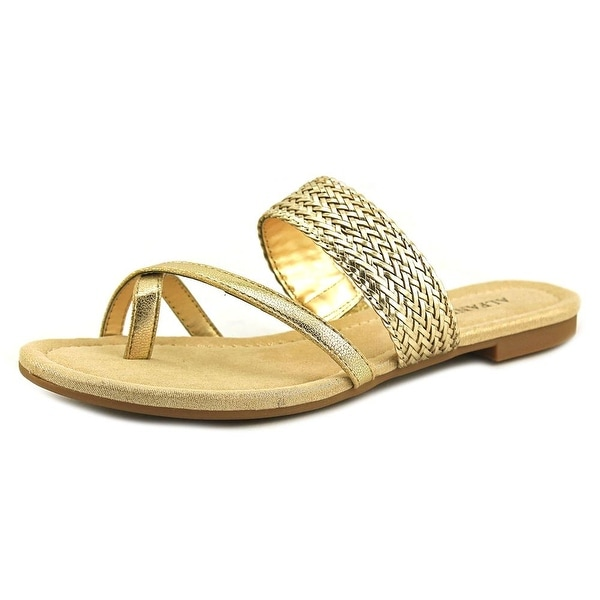 Alfani Haryse Women Open Toe Synthetic Gold Slides Sandal