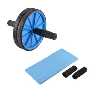 Exercise Blue Black Plastic Two Wheels Hand Pusher Abdominal Roller w Cushion