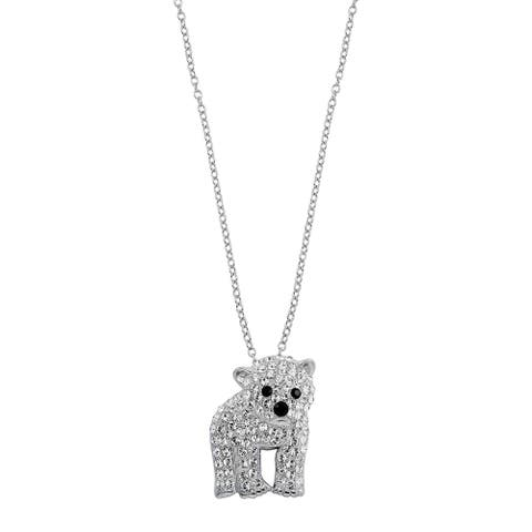 Polar Bear Pendant with Crystals in Sterling Silver, 18 Inches - White