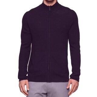 Calvin Klein NEW Purple Mens Size XL Full Zip Wool Blends Sweater