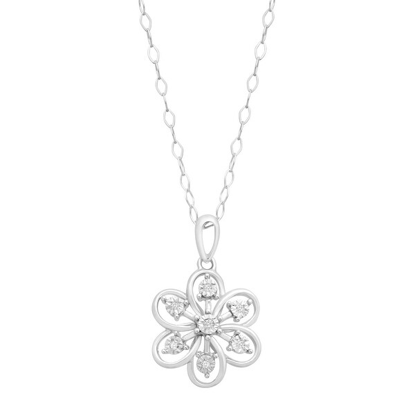 Flower Pendant with Diamonds in Sterling Silver