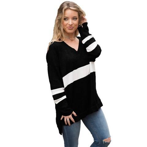Cali Chic Women's Sweatshirt Celebrity Black V Neck Chunky Stripe Pullover Sweatshirt