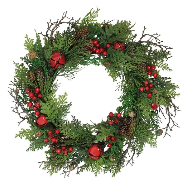 "24"" Rustic Red Jingle Bell, Berry and Pine Cone Artificial Christmas Wreath - green"