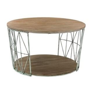Sterling Industries 138-167 Round Wood & Metal Coffee Table
