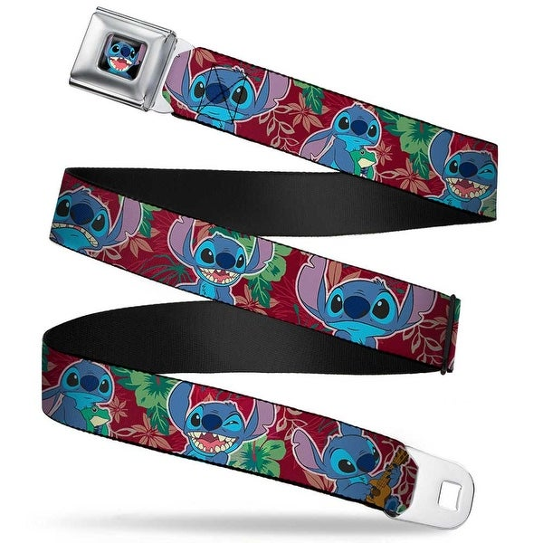 Stitch Smiling Close Up Full Color Black Stitch 6 Expressions Tropical Seatbelt Belt
