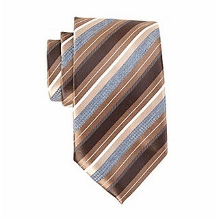 Geoffrey Beene NEW Brown Beyond Stripes Satin Men's Silk Classic Necktie