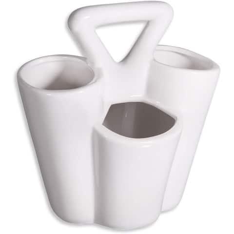 Farmhouse Decor 4 Section Ceramic Silverware Holder - Flatware and Cutlery Caddy - Kitchen Table Organizer