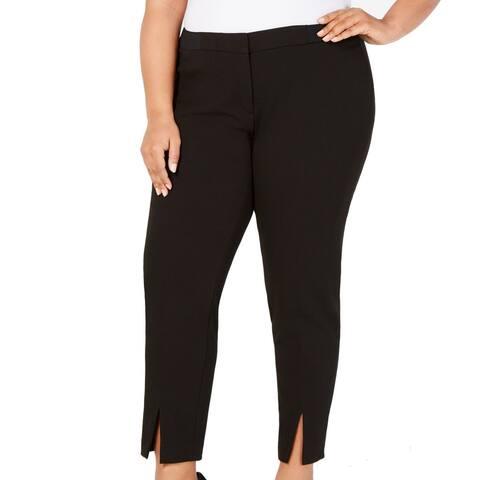 Calvin Klein Womens Dress Pants Black Size 14W Plus Ankle Stretch