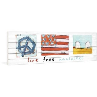 Marmont Hill Live Free Nantucket - on White Pine Wood Fine art print on white pine wood from the Tori Campisi Collection