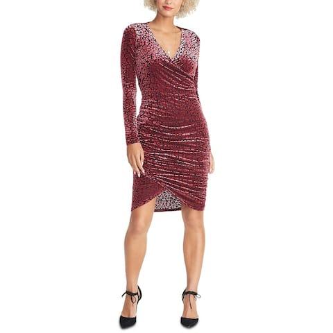 Rachel Roy Women's Fitted Leopard Print Dress Dark Pink Size X-Large
