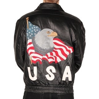 Leather World Men's USA Leather Jacket w/Eagle American Flag Embroidery