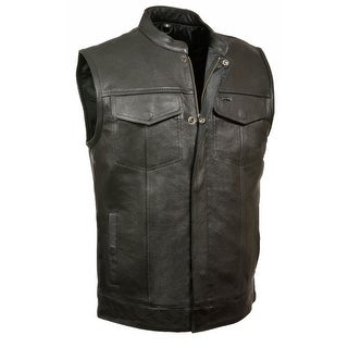 Mens Leather Snap / Zip Open Neck MC Vest (Option: 4xl)