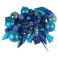 125ct Regal Peacock Blue Shatterproof 4-Finish Christmas Ornaments