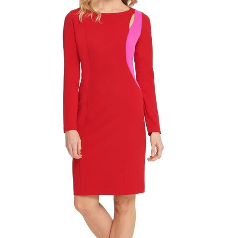 DKNY Womens Sheath Dress Purple Red Size 10 Cutout-Shoulder Two-Tone