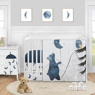 Woodland Bear and Owl Boy or Girl 4pc Nursery Crib Bedding Set - Navy Blue Grey Gold Black Celestial Moon Star Watercolor Forest