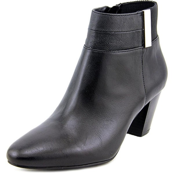 Alfani Palessa Women Round Toe Leather Black Ankle Boot