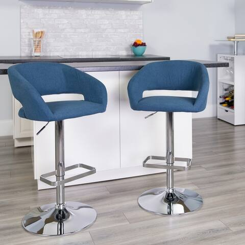 Vinyl Adjustable Height Bar Stool with Rounded Mid-Back