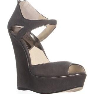 MICHAEL Michael Kors Riley Wedge Platfrorm Sandals, Graphite - 7 us