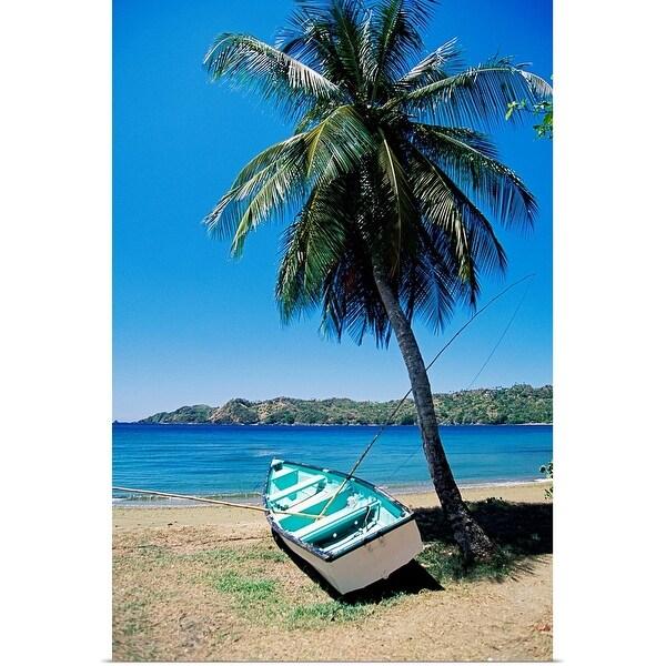 """Boat and palm tree, Tobago, Caribbean"" Poster Print"