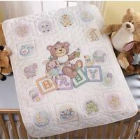 "Baby Blocks Crib Cover Stamped Cross Stitch Kit-34""X43"""