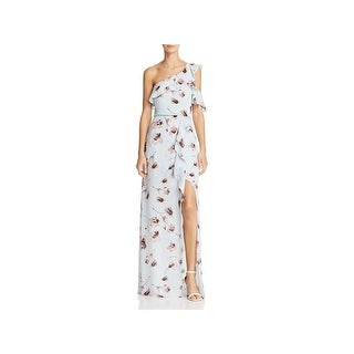 BCBG Max Azria Womens Maud Evening Dress Floral Print One Shoulder