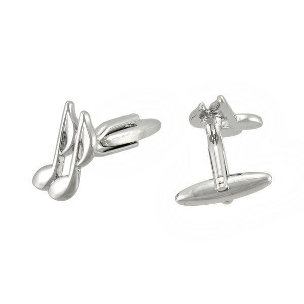 Shop Polished Chrome Music Notes Cufflinks - Free Shipping On Orders