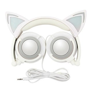 K7 LED Headphones with Pointy Cat Ears & Spare Battery, Grey
