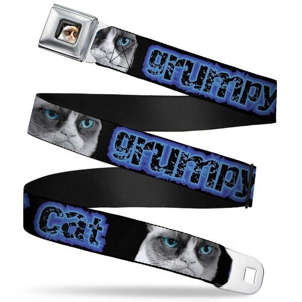 Grumpy Cat Face Full Color Black Grumpy Cat W Face Close Up Black Blues Seatbelt Belt
