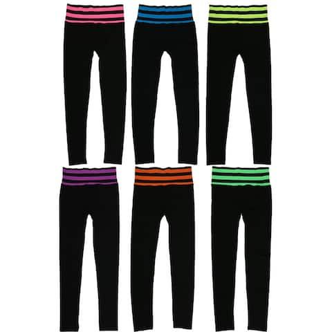 Women's Striped Fold Down Waist Sports Leggings (6 Pack) Free Size