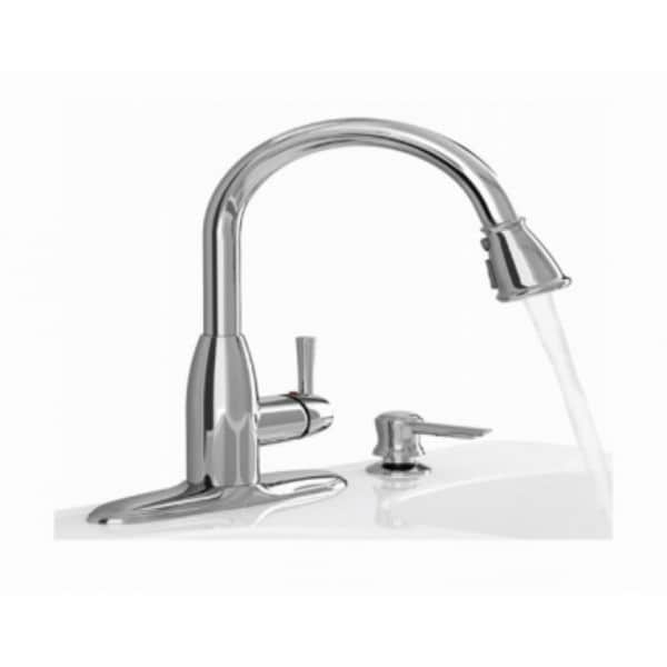 American Standard 9012 301 002 Mckenzie Chrome Pull Down Kitchen Faucet With Soap Dispenser