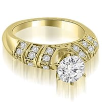 1.00 cttw. 14K Yellow Gold Antique Style Round Cut Diamond Engagement Ring