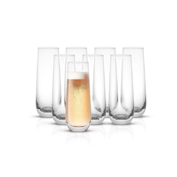 JoyJolt Milo 9.4 oz Champagne Glasses Set of 8 flute Glasses - 9.4 oz. Opens flyout.