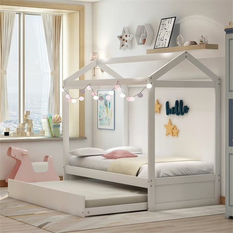 House Bed with trundle, Can be decorated, White