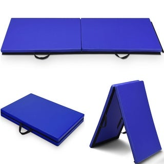 Costway 6x 2 Gymnastics Mat Thick Two Folding Panel Gym Fitness Exercise Blue