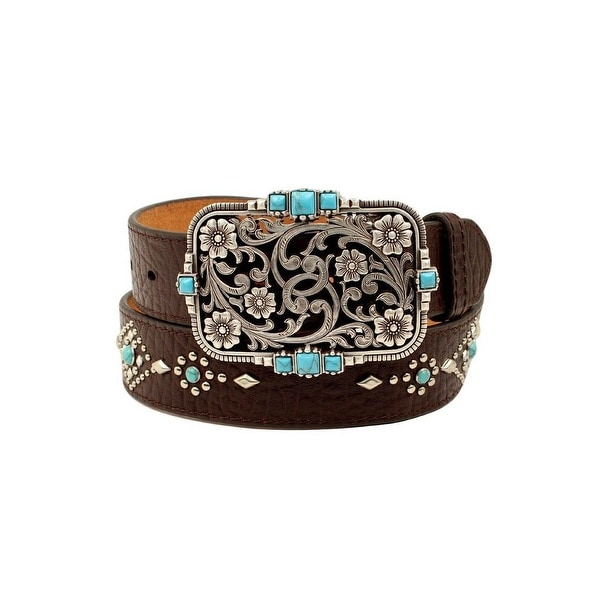 Nocona Western Belt Womens Turquoise Stones Floral Nailheads