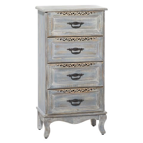 """Tall Grey Distressed 4-Drawer Wood Carved Cabinet With Black Metal Handles 20.5"""" X 39.5"""" - 21 x 13 x 40"""