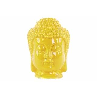 Ceramic Buddha Head Figurine With Beaded Ushnisha, Glossy Yellow
