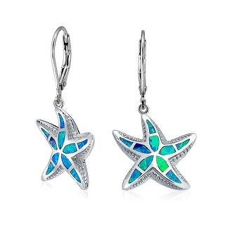 Bling Jewelry Synthetic Blue Opal Inlay Starfish 925 Silver Leverback Earrings