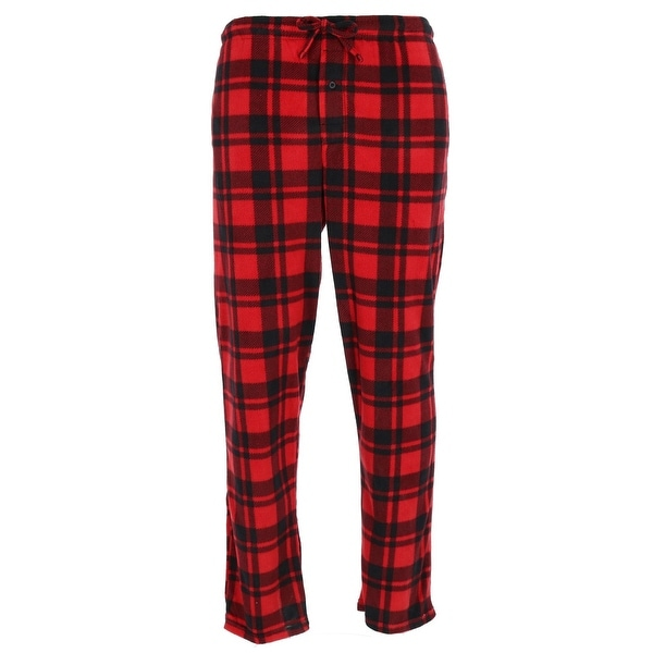 $50 CLUB ROOM Men/'s PAJAMA PANTS RED BLACK CHECKERED FLEECE LOUNGE SLEEPWEAR XL