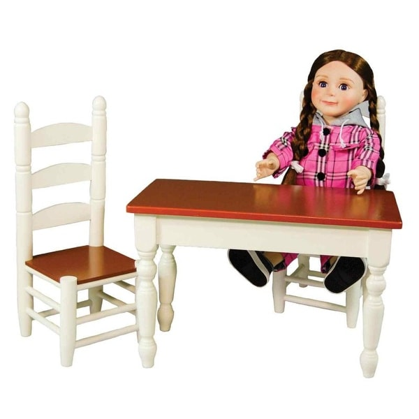 Shop Off White Wooden Farmhouse Kitchen Table And Two Chairs Doll
