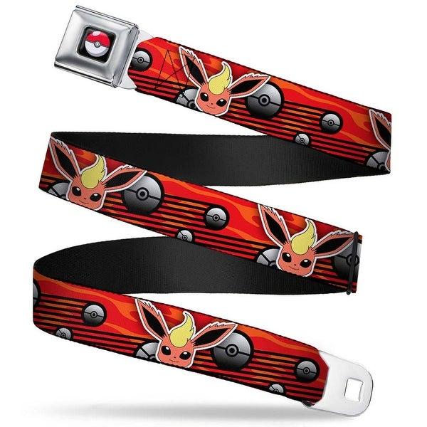 Pok Ball Full Color Black Flare on Face Close Up Pok Ball Rays Flame Seatbelt Belt