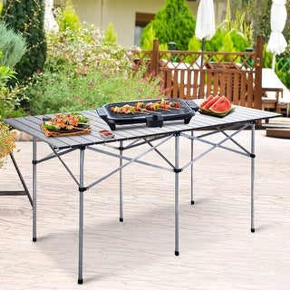 Costway Roll Up Portable Folding Camping Square Aluminum Picnic Table w/Bag (55'' ) - Sliver