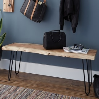 Link to Carbon Loft Czuchry Hairpin Natural Live Edge Wood with Metal Bench Similar Items in Living Room Furniture