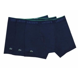 Lacoste Men's Navy Blue 100% Cotton Logo Knit Boxer Brief 3 Pack