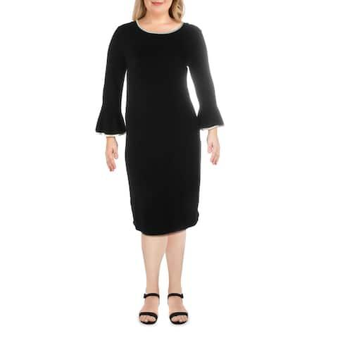 Calvin Klein Womens Sweaterdress Knit Contrast Trim - Black/Cream - XL