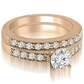 1.58 cttw. 14K Rose Gold Antique Milgrain Round Cut Diamond Bridal Set - Thumbnail 0
