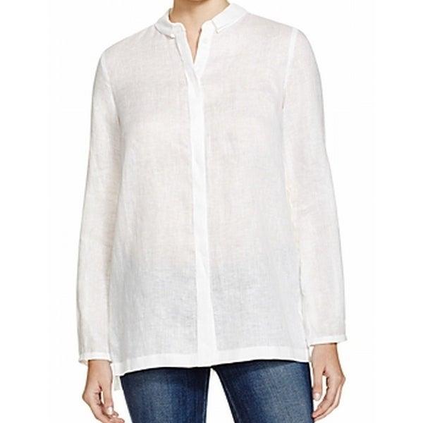 8b241b8e Elie Tahari NEW White Pleat-Back Women Large L Linen Button Down Shirt