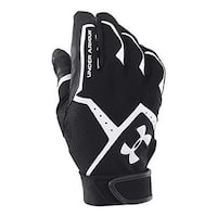 under armour male clean up batting gloves, black /black/ white, lg