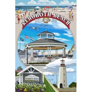 Rehoboth Beach, Delaware - Pavillion Montage - Lantern Press Artwork (Poker Playing Cards Deck)