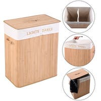Costway Foldind Double Rectangle Bamboo Hamper Laundry Basket Cloth Storage Bag Lid